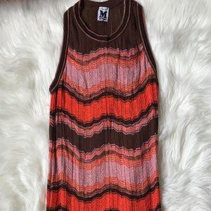 M Missoni Brown Pink Chevron Scallop Hem Dress